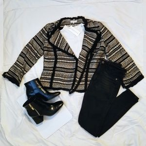 Moon River Black & Gold Tweed Blazer Jacket︱Size S